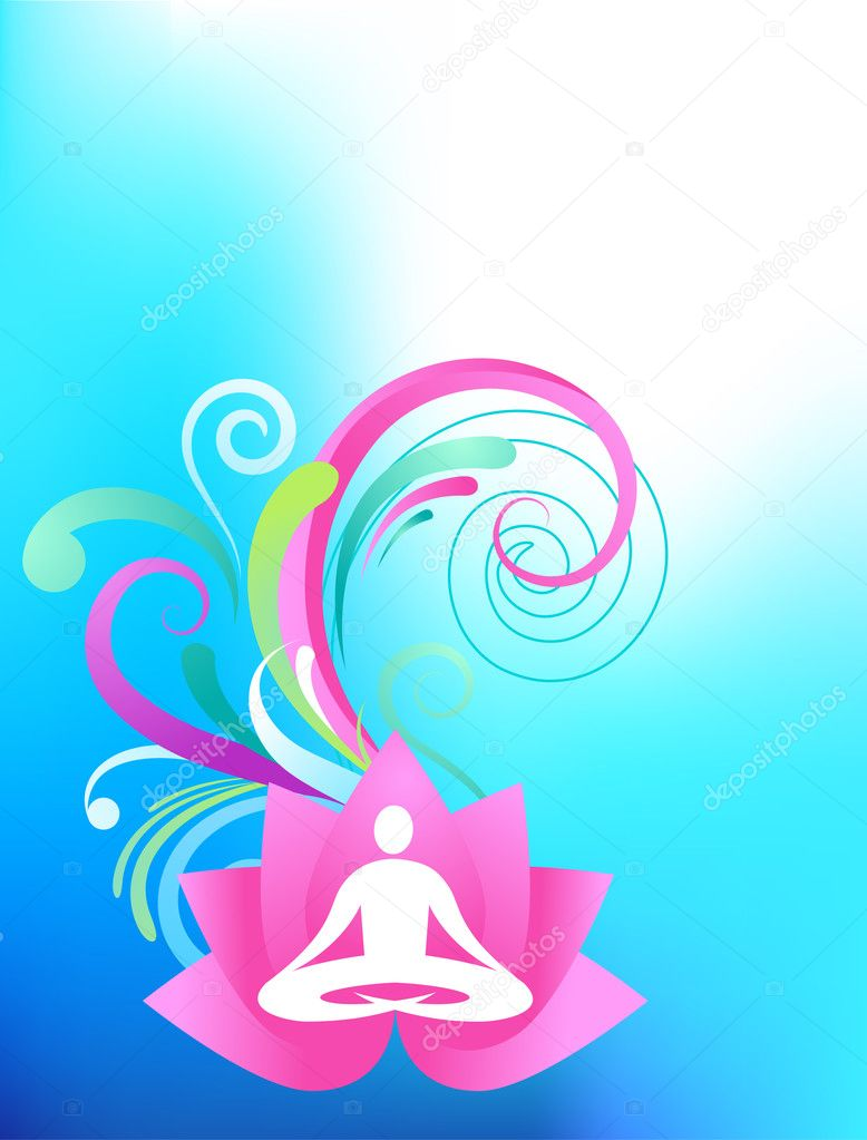 Sky blue yoga background with lotus and splash pattern — Stock Vector #2873515