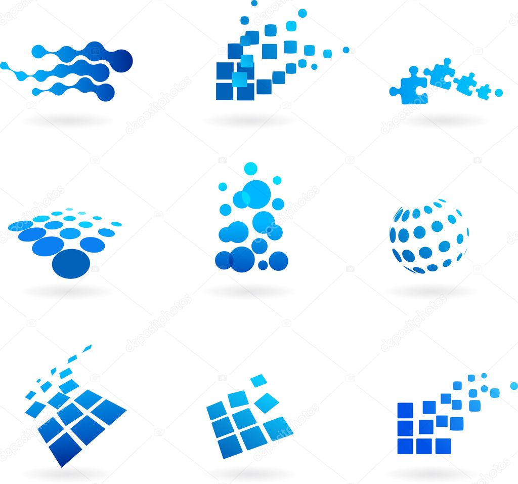Collection of abstract blue icons / logos — Stock Vector #2873603