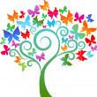 Colourful butterfly tree - Stock Vector
