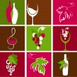 Stock Vector: Collection of wine icons and logos