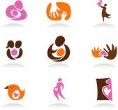 Motherhood icon set — Stock Vector
