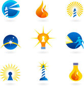 Light and fire icons — Stock Vector