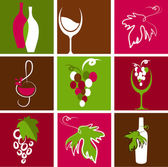 Collection of wine icons and logos — Stock Vector