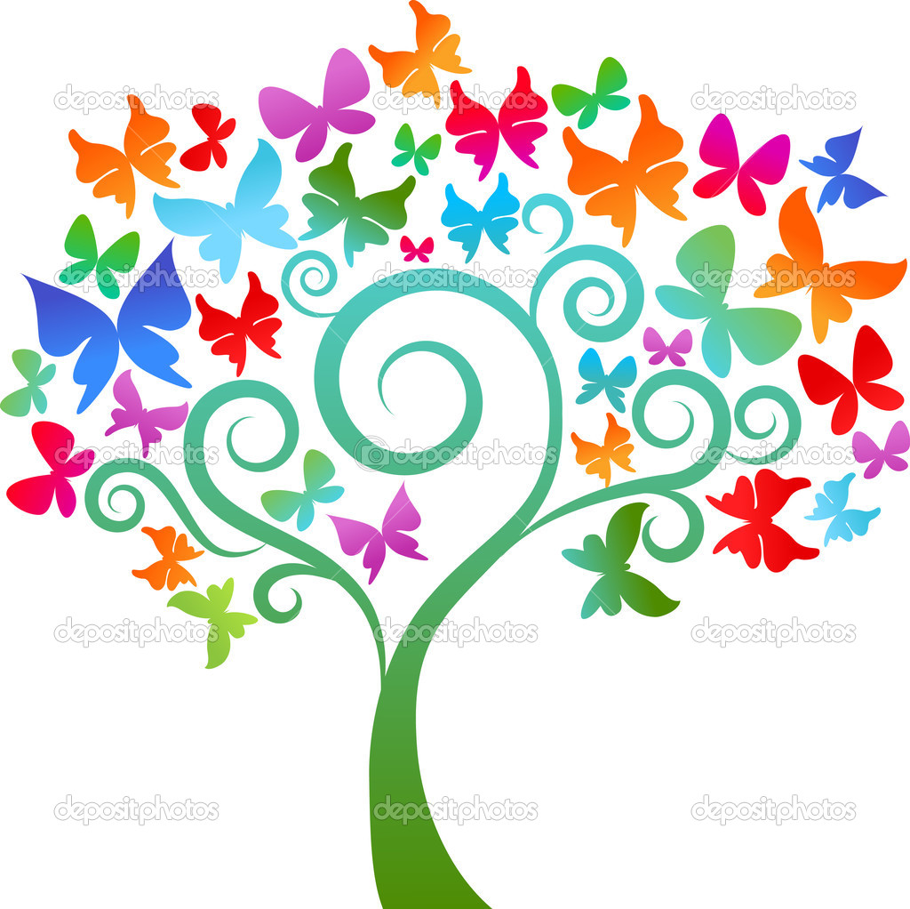 Tree with colourful butterflies — Stock Vector #2880382