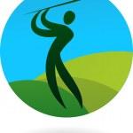 Golf swing icon / logo — Stock Vector
