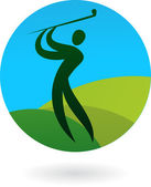 Golf swing icon / logo — Stock Vector