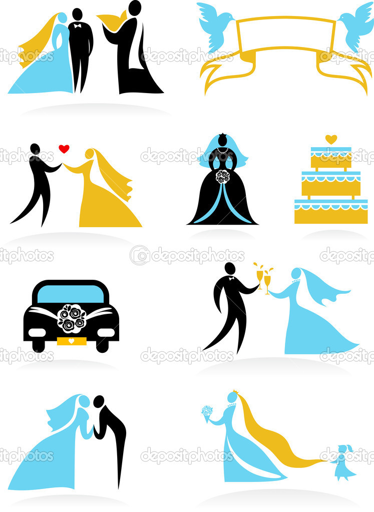 Collection of wedding   icons — Stock Vector #2944600