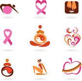 Female health icons — Stock Vector
