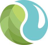 Ecological Yin Yang symbol — Stock Vector