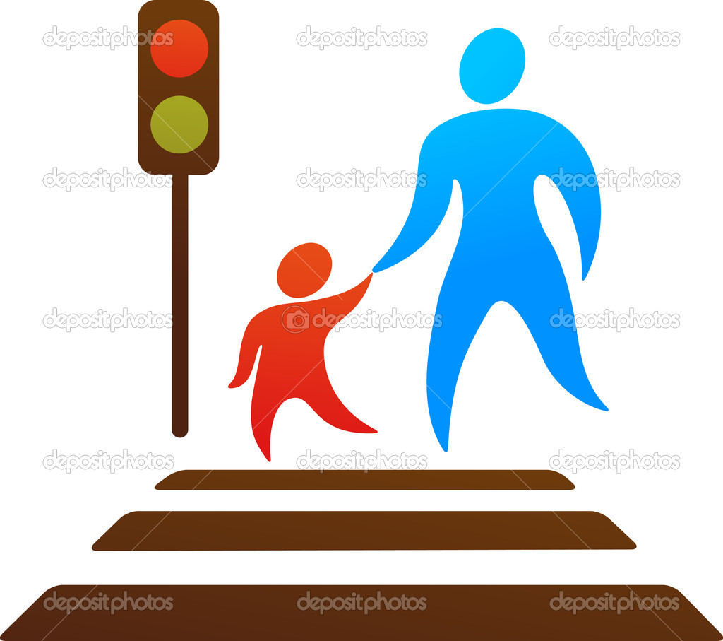Parent and child crossing the street stock illustration