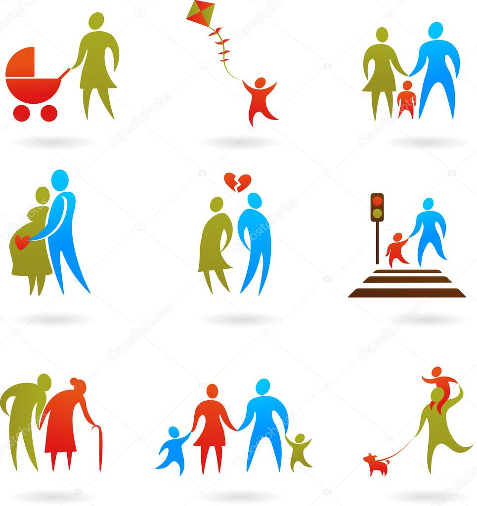 Collection of family icons — Stock Vector #2996709
