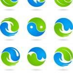 Conceptual Yin Yang symbols — Stock Vector