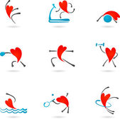Fitness heart icons — Stock Vector