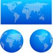 Blue map and two globes — Stock Vector
