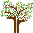 Ecological icons tree with two hands — Stok Vektör