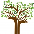 Ecological icons tree with two hands — Stock vektor