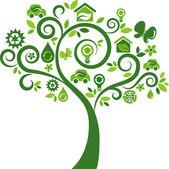 árbol de iconos ecológicos - 2 — Vector de stock