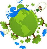 Zielona planeta — Wektor stockowy