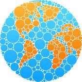Blue and orange circle globe — Stock Vector