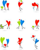 Collection of family heart icons — Stock Vector