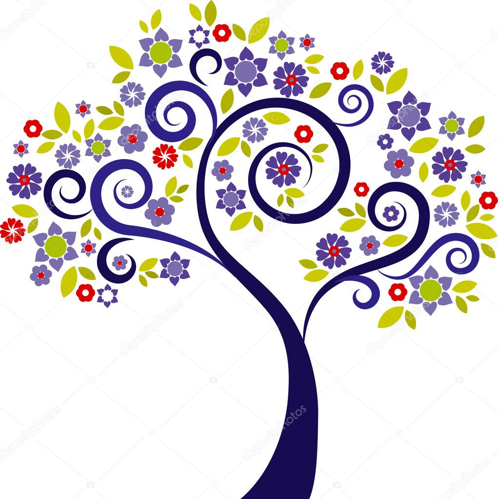 Colourful decorative tree with floral graphic elements  Stock Vector #3030413