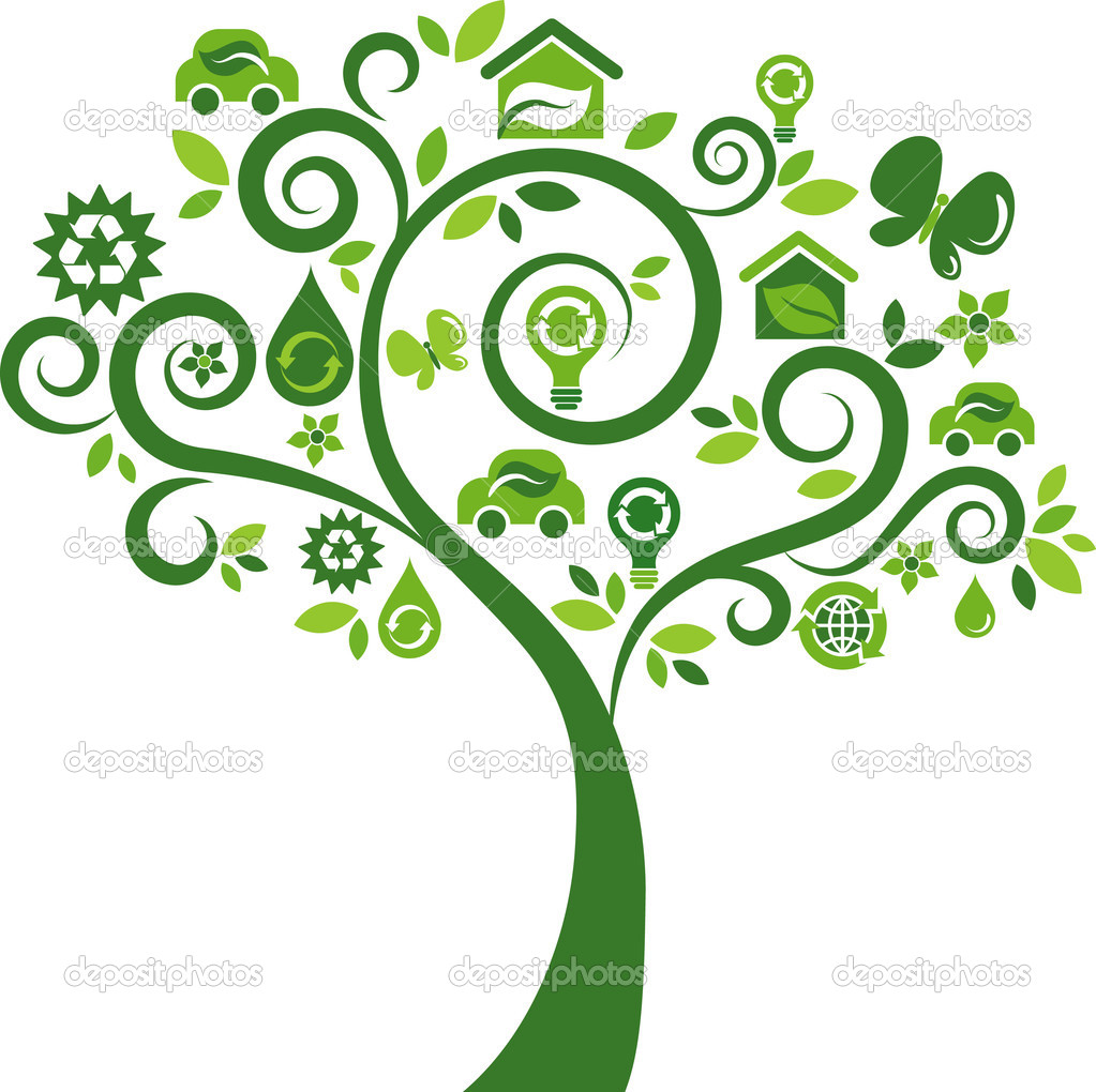 Green tree with many ecological icons and logos — Stock Vector #3030417