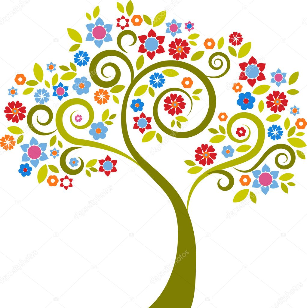 Colourful decorative tree with floral graphic elements  Stock Vector #3030420