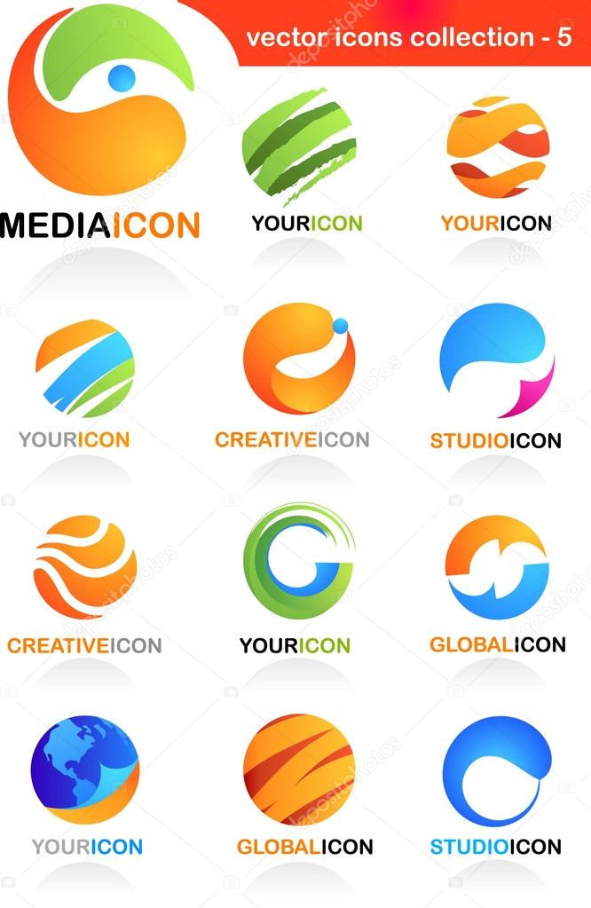Collection  of abstract business icons - global media and communication theme   #3037801