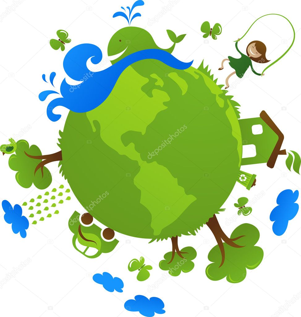 Globe with cute eco icons — Stock Vector #3037823