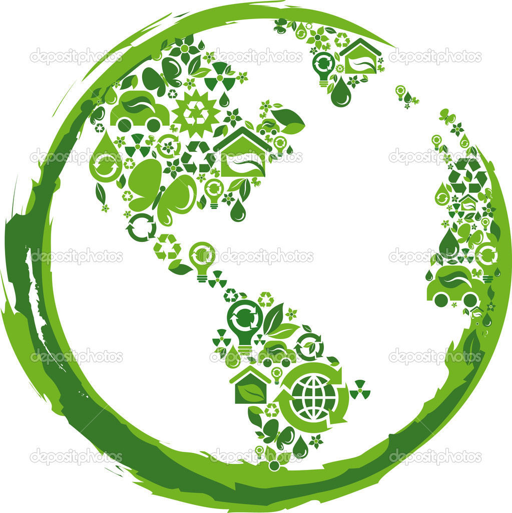 Globe outline compose of green  ecological icons  Stock Vector #3037830