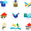 Education and schooling icon set — Stockvectorbeeld