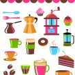 Stock Vector: Coffee shop colourful icons