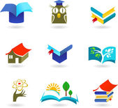 Education and schooling icon set — Stok Vektör