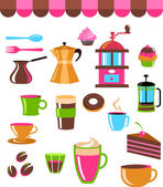 Coffee shop colourful icons — Stock Vector