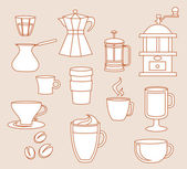 Coffee shop line-art icons — Stock Vector