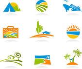 Urlop i turystyka ikony i logo — Wektor stockowy