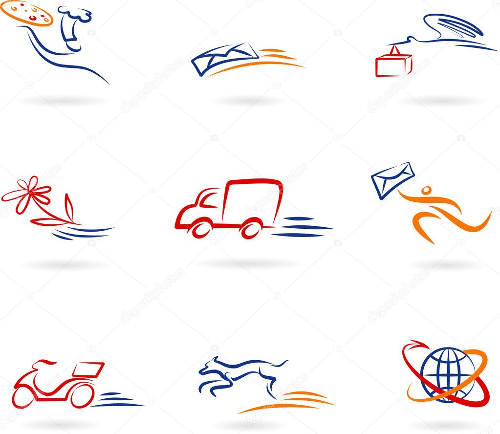 Collection of delivery and post icons and logos — Stock Vector #3123945