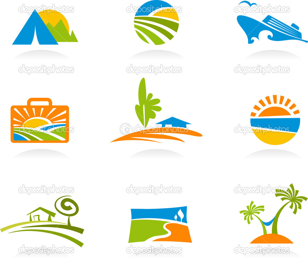 Collection of colourful tourism and vacation icons and logos  Stock Vector #3123959