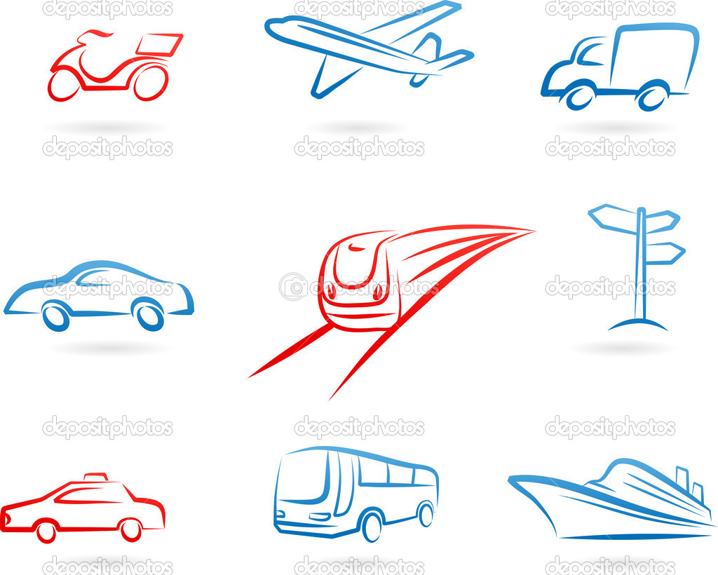 Collection of line-art transportation icons and logos  Stock Vector #3123962