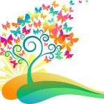 Sunrise butterflies tree — Stock Vector