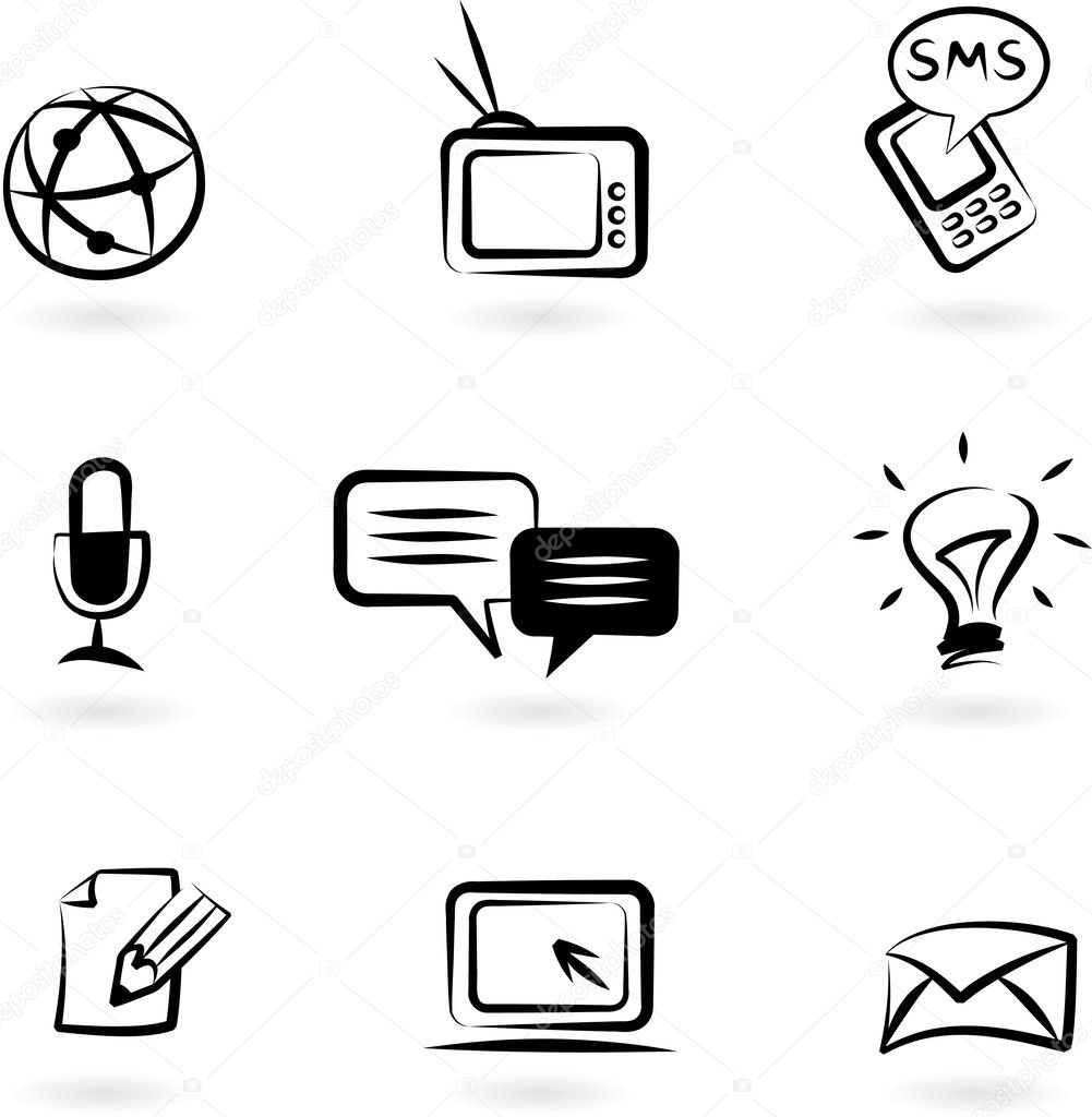 Collection of black and white communication icons — Stock Vector #3163999