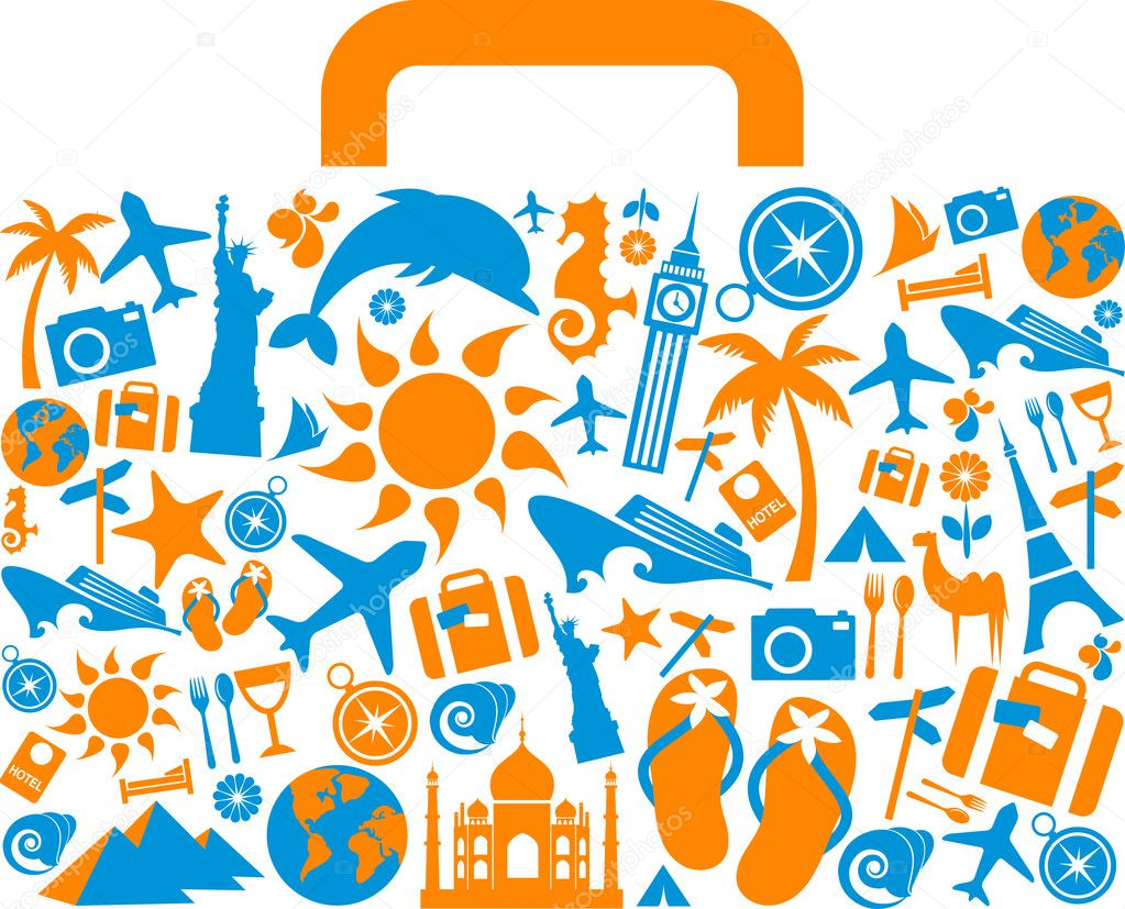 Travel suitcase with many colourful tourism and vacation icons and logos — Stock Vector #3164004