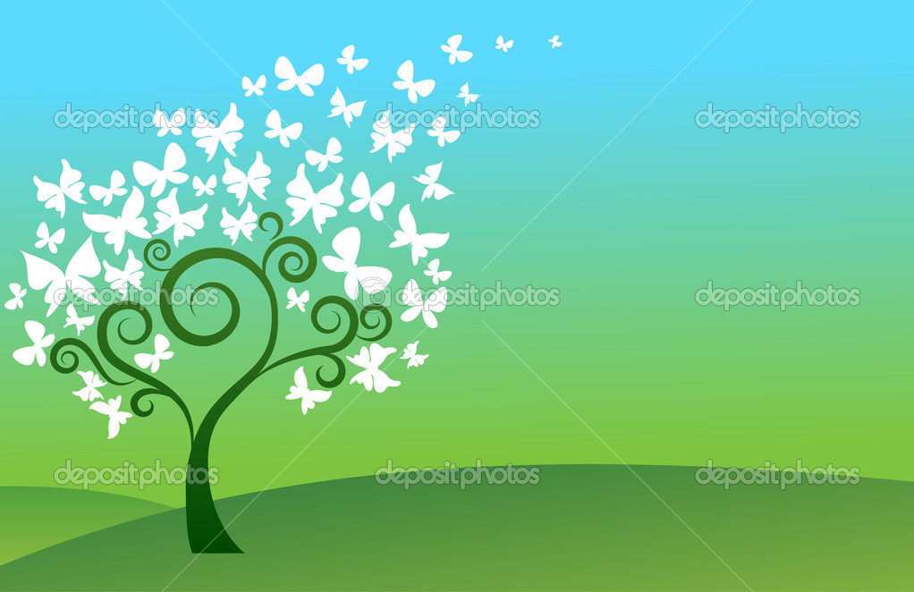 Green background with hills, tree and white butterflies  Stock Vector #3165640