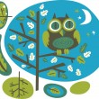 Royalty-Free Stock 矢量图片: Owl on a tree