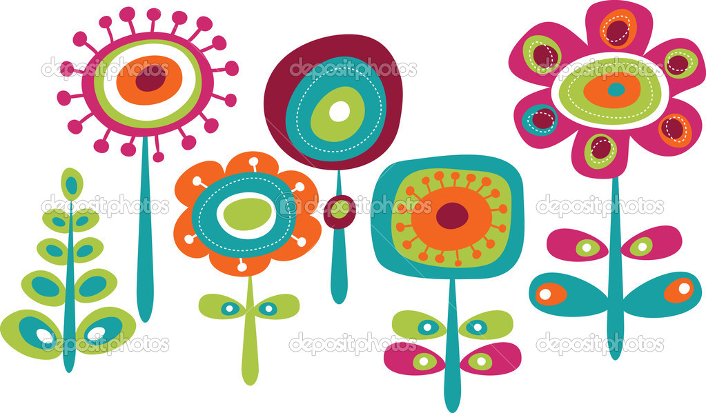 Cute colorful flowers, childish vector illustration — Imagen vectorial #3211016
