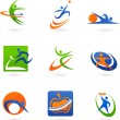 Colorful fitness icons and logos — Imagen vectorial