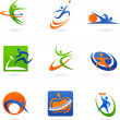 Colorful fitness icons and logos — Image vectorielle