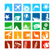 Tourism and vacation icons — Vector de stock