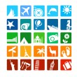 Tourism and vacation icons — Stock Vector