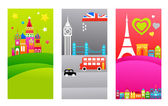 European travel destinations — Stock Vector